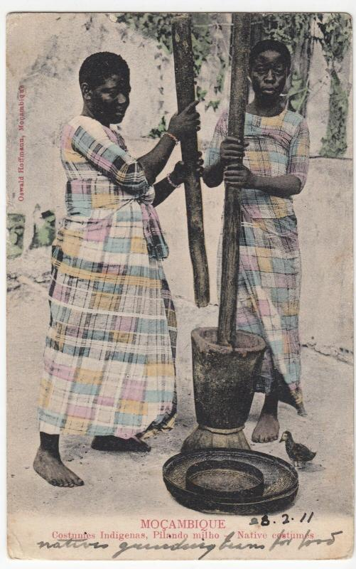 Mozambique; Native Costumes, Shown Milling Corn PPC By Hoffman, 1911
