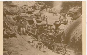 Train in Dixie Cut with construction workers, repro card of old photo,