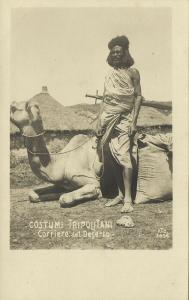 libya, Native Courier of the Desert, Costumi Tripolitani (1910s) RPPC Postcard