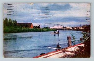 Fairbanks AK-Alaska, Banks of the Chena River Chrome c1953 Postcard