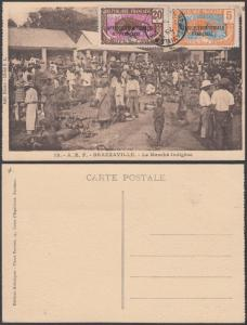 French Equatorial Africa 1930s Used stps on postcard ( Market at Brazzaville )
