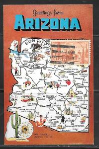 1960 Arizona map. Cancelled on front Sun City