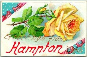 1910 HAMPTON Nebraska Embossed Greetings Postcard Yellow Rose / Stars & Stripes