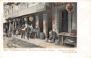 Fish Alley Street Scene, Chinatown, San Francisco, CA 1906 Vintage Postcard