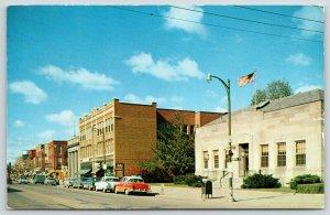 Sturgis Michigan~Main Street Post Office~1950s Cars~Mailbox~No U Turn Sign~1955