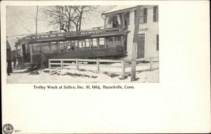 Hazardville Enfield CT Trolley Crash Wreck 1904 Postcard