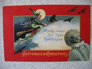 HALLOWEEN witch on broom w cat and bats and full moon. Artist E. C. Banks.  emb.