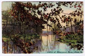 Erie PA 1912 Lake At Glenwood Park Erie County Hazelwood RARE Antique Postcard
