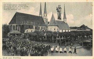 Gruss aus Altotting Church Chapel Stret Vintage Cars Postcard