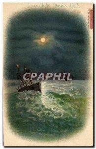 Old Postcard Fantasy Moon Boat
