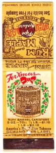 Rum & Maple pipe tobacco Christmas matchbook cover with bow