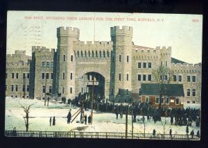 Buffalo, New York/NY Postcard, 65th Regiment Entering Armory, 1908!