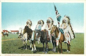 American Native canadian indian life chiefs in gala attire postcard