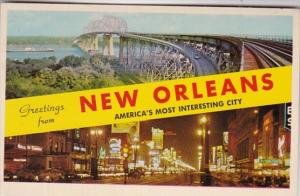 Louisiana Greetings From New Orleans Showing Huey Long Bridge and Canal Stree...