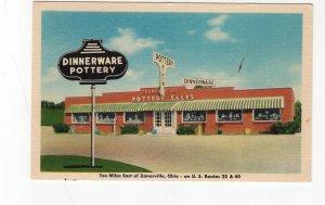 circa 1950 postcard, Zanesville Pottery Sales, Zanesville, Ohio