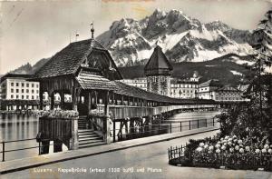 Switzerland Luzern Kappelbrucke und Pilatus Chapel Bridge Postcard