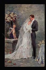 040443 WEDDING Just Married & Nude CUPID By BORRMEISTER old PC