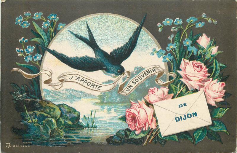 France Souvenir de Dijon swallow bird depose flowers fantasy vintage postcard