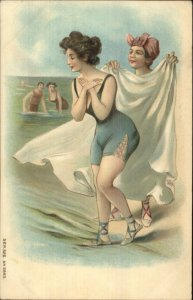 Bathing Beauty Lady Being Covered by Towel Series 526 #2893 Embossed Postcard
