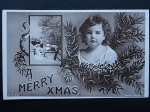 A Merry Christmas LITTLE GIRL & PINE TREE LEAVES c1908 RP Postcard by Rotary
