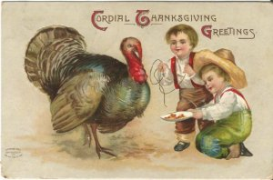 Two Little Boys Tricking a Turkey w/ Rope & Treats Vintage Postcard Thanksgiving