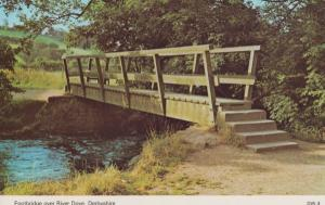 River Dove Derby Footbridge Bridge 1970s Derbyshire Postcard