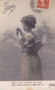 1er Avril April Fool's Day Young Woman With Bsket Of Fish 1911
