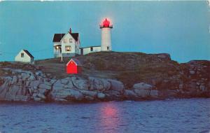 YORK BEACH MAINE  NUBBLE LIGHT LIGHTHOUSE AT DUSK POSTCARD 1964