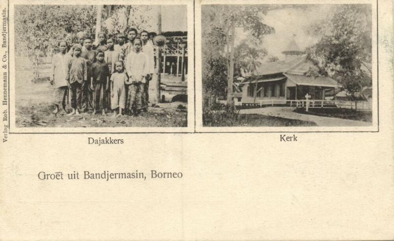 indonesia, BORNEO BANDJERMASIN, Church, Native Dayak People (1899) Postcard