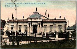 1905 Exposition Universelle de LIEGE Postcard Palais des Feres w/ 1905 Cancel