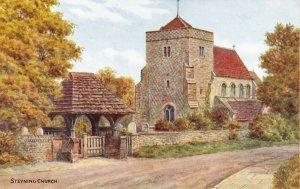 Vintage West Sussex Art Postcard, Steyning Church DQ2