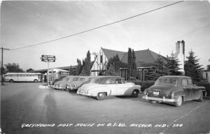 Angola Indiana~Greyhound Post House on US 20~Classic Cars-Bus~'50s Roadside RPPC