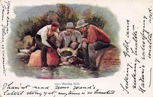 Panning Gold, Very Early Embossed Postcard, Unused, Published in 1898