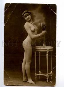 234135 NUDE Woman BELLE w/ Flowers Vintage PHOTO GA #105