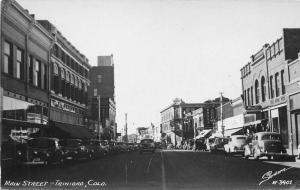 Autos Main Street Trinidad Colorado 1940s Sanborn RPPC Photo Postcard 4380