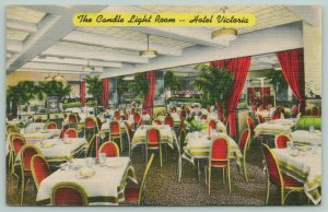 New York City~Go Dancing~The Candle Light Room~Hotel Victoria 1940s Postcard