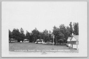Bena Minnesota~Schmirlers Resort Cabins~Swingset~1940 Cars Woody~RPPC