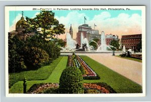 Philadelphia PA-Pennsylvania City Hall Fountain In Parkway Vintage Postcard