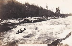 RP: YUKON, Canada, 1920s; Shooting White Horse Rapids, 3 Men in a small boat
