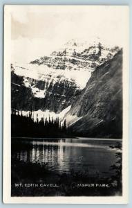 Postcard Canada Alberta Jasper Park Mt Edith Cavell RPPC Real Photo Q11