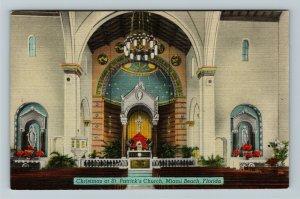 Miami FL-Florida, Interior View St. Patrick's Church at Christmas,Linen Postcard