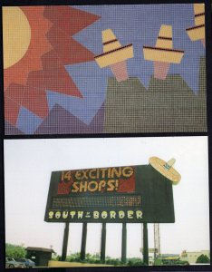 Lot of 2 SC South of the Border Wonder Sign Mexican Mosaic Title Walls Chrome