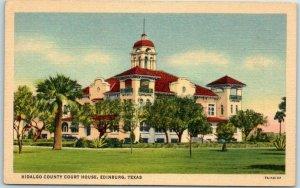 1940s Edinburg TX Postcard Hidalgo County Court House Curteich Linen #7A-H2137