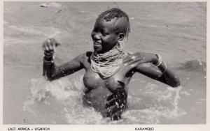 Uganda East Africa Woman Risque Swimming Real Photo Old Postcard