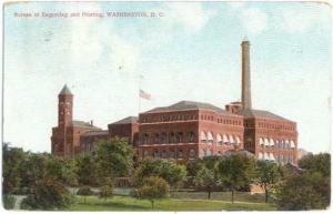 Bureau of Engraving and Printing, Washington, DC, 1909 Divided Back