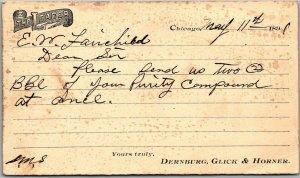 1891 CHICAGO IL Business Postcard THE LEADER Dernburg, Glick & Horner w/ Cancel