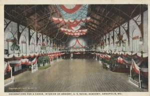 ANNAPOLIS , Maryland , 1910s ; Armory decorated for a dance , U.S. Naval Academy