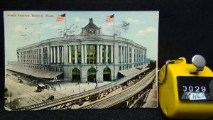 STD Vintage South Station Railway Old Cars Boston Massachusetts Posted 1912
