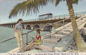 Florida Greyhound Bus On The Seven Mile Bridge In The Florida Keys 1953