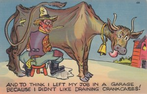 Comic; Milking a cow , 1930-40s